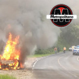 Se incendia carro sobre la Huatusco – Totutla